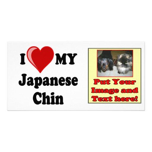 I Love (Heart) My Japanese Chin Dog Photo Card