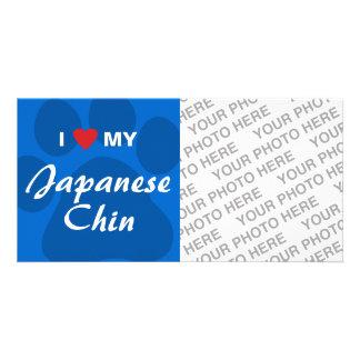 I Love Heart My Japanese Chin Customized Photo Card