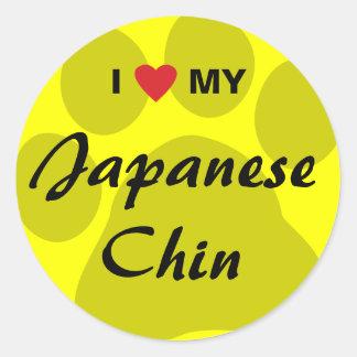 I Love (Heart) My Japanese Chin Round Sticker