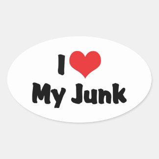 I Love Heart My Junk - Antique Picker Collector Oval Sticker