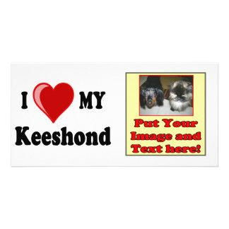 I Love (Heart) My Keeshond Dog Photo Greeting Card