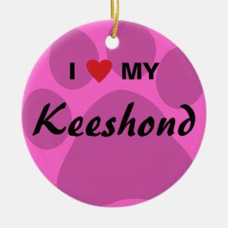 I Love (Heart) My Keeshond Pawprint Round Ceramic Decoration