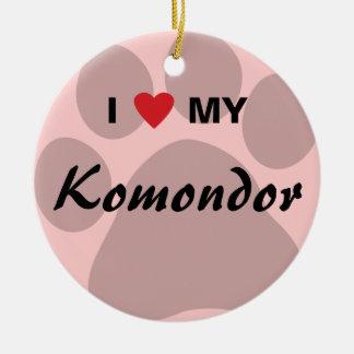 I Love (Heart) My Komondor Round Ceramic Decoration
