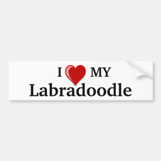 I Love (Heart) My Labradoodle Dog Bumper Sticker