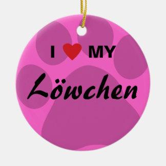 I Love (Heart) My Lowchen Pawprint Round Ceramic Decoration