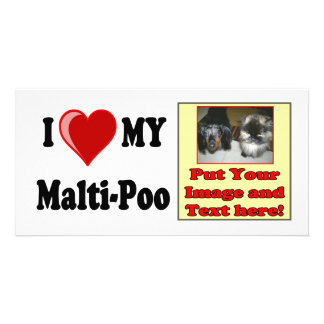 I Love (Heart) My Malti-Poo Dog Personalized Photo Card