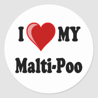 I Love (Heart) My Malti-Poo Dog Stickers