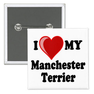 I Love (Heart) My Manchester Dog Pinback Buttons
