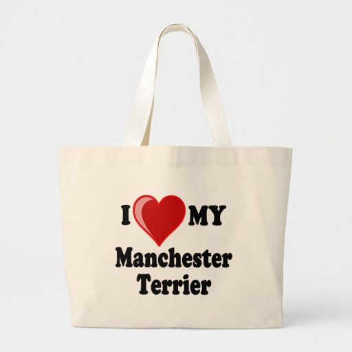 I Love (Heart) My Manchester Dog Tote Bags