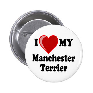 I Love (Heart) My Manchester Dog Buttons
