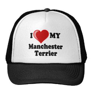 I Love (Heart) My Manchester Dog Hats