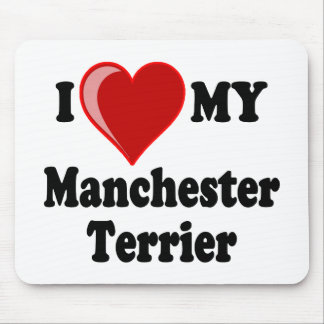 I Love (Heart) My Manchester Dog Mouse Pad