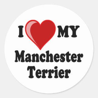 I Love (Heart) My Manchester Dog Round Sticker