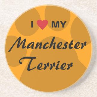 I Love Heart My Manchester Terrier Beverage Coasters