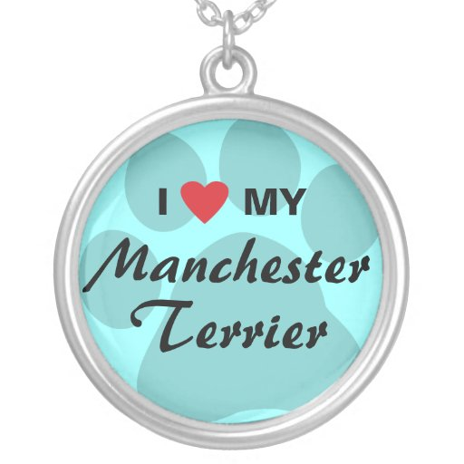 I Love (Heart) My Manchester Terrier Necklace