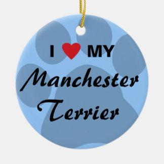 I Love (Heart) My Manchester Terrier Round Ceramic Decoration