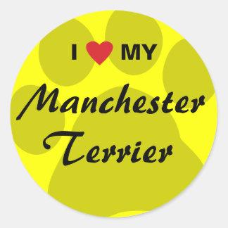 I Love (Heart) My Manchester Terrier Round Sticker