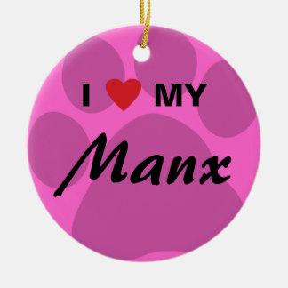 I Love (Heart) My Manx Cat Pawprint Design Round Ceramic Decoration