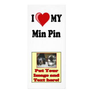 I Love (Heart) My Min Pin Dog Personalized Rack Card