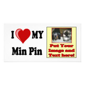 I Love (Heart) My Min Pin Dog Customized Photo Card