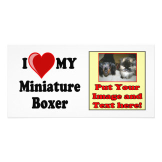 I Love (Heart) My Miniature Boxer Dog Photo Greeting Card