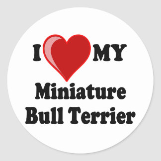 I Love (Heart) My Miniature Bull Terrier Dog Classic Round Sticker