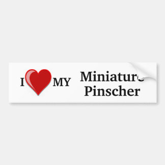 I Love (Heart) My Miniature Pinscher Dog Bumper Sticker