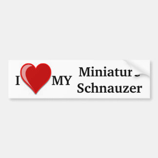 I Love (Heart) My Miniature Schnauzer Dog Bumper Sticker