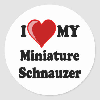 I Love (Heart) My Miniature Schnauzer Dog Classic Round Sticker
