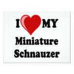 I Love (Heart) My Miniature Schnauzer Dog Custom Invite