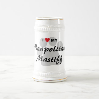 I Love (Heart) My Neapolitan Mastiff Pawprint Beer Stein