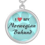 I Love (Heart) My Norwegian Buhund Round Pendant Necklace