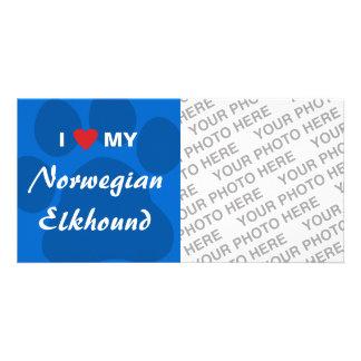 I Love Heart My Norwegian Elkhound Custom Photo Card