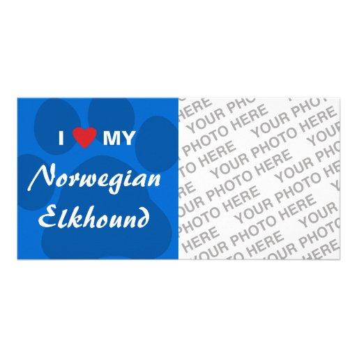 I Love (Heart) My Norwegian Elkhound Custom Photo Card