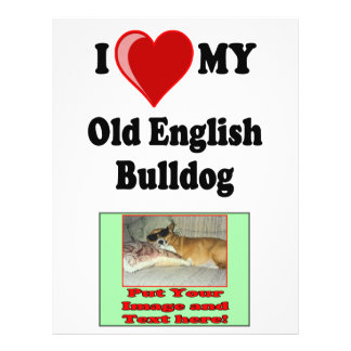 I Love (Heart) My Old English Bulldog Dog 21.5 Cm X 28 Cm Flyer