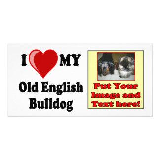 I Love Heart My Old English Bulldog Dog Custom Photo Card