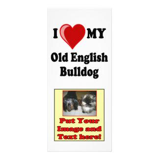 I Love (Heart) My Old English Bulldog Dog Personalized Rack Card