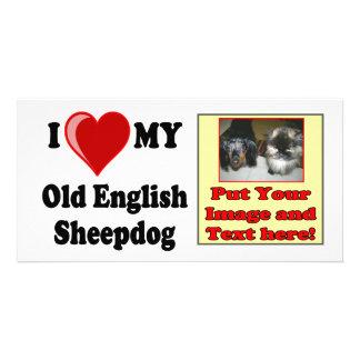 I Love Heart My Old English Sheepdog Dog Personalized Photo Card
