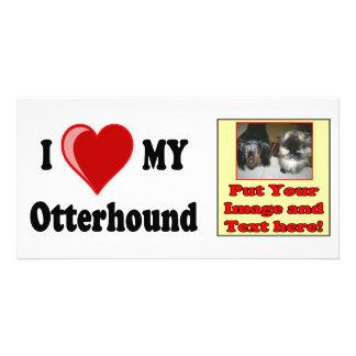 I Love Heart My Otterhound Dog Custom Photo Card