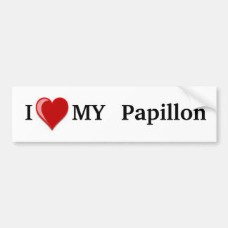 I Love (Heart) My Papillon Dog Bumper Sticker