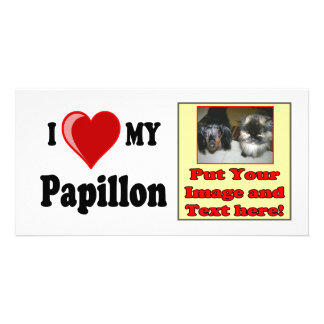 I Love Heart My Papillon Dog Picture Card