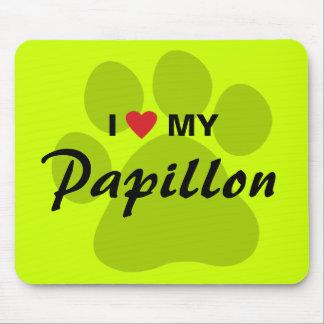 I Love (Heart) My Papillon Pawprint Mouse Pad