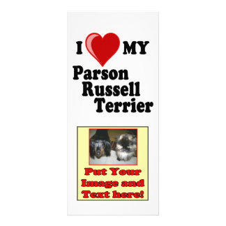 I Love (Heart) My Parson Russell Terrier Dog Customised Rack Card