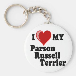 I Love (Heart) My Parson Russell Terrier Dog Key Ring