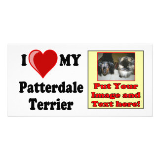 I Love Heart My Patterdale Terrier Dog Picture Card