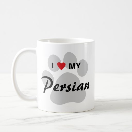 I Love (Heart) My Persian Cat Pawprint Design Mugs