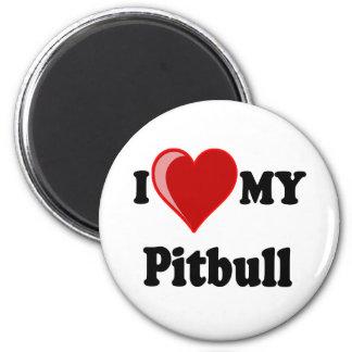 I Love (Heart) My Pitbull Dog 6 Cm Round Magnet