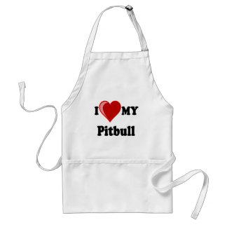 I Love (Heart) My Pitbull Dog Adult Apron