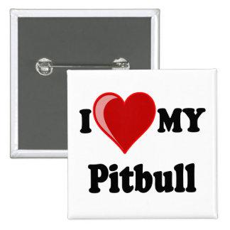 I Love (Heart) My Pitbull Dog Pins