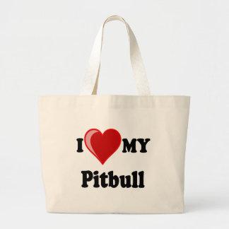 I Love (Heart) My Pitbull Dog Canvas Bag